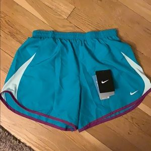 Pretty teal with purple accent Nike workout shorts